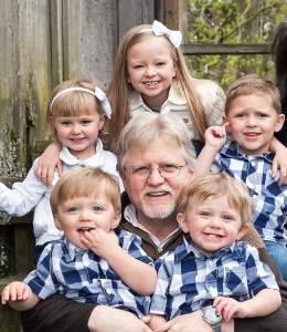 grandpa and 5 grandchildren
